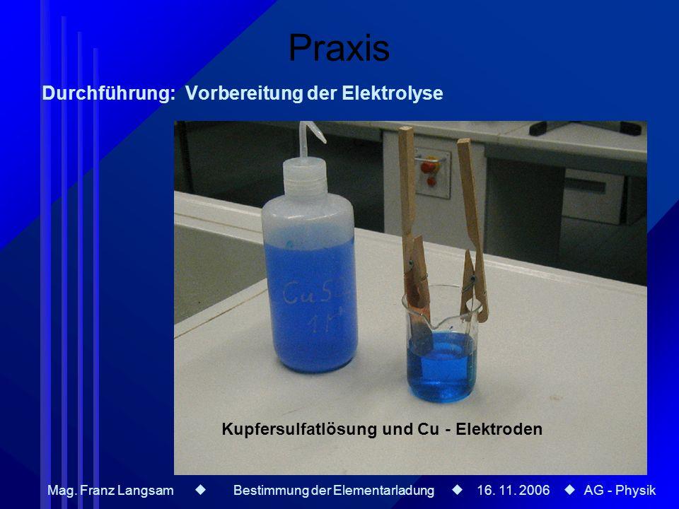 Mag. Franz Langsam Bestimmung der Elementarladung 16. 11. 2006 AG - Physik Praxis Durchführung: Vorbereitung der Elektrolyse Kupfersulfatlösung und Cu