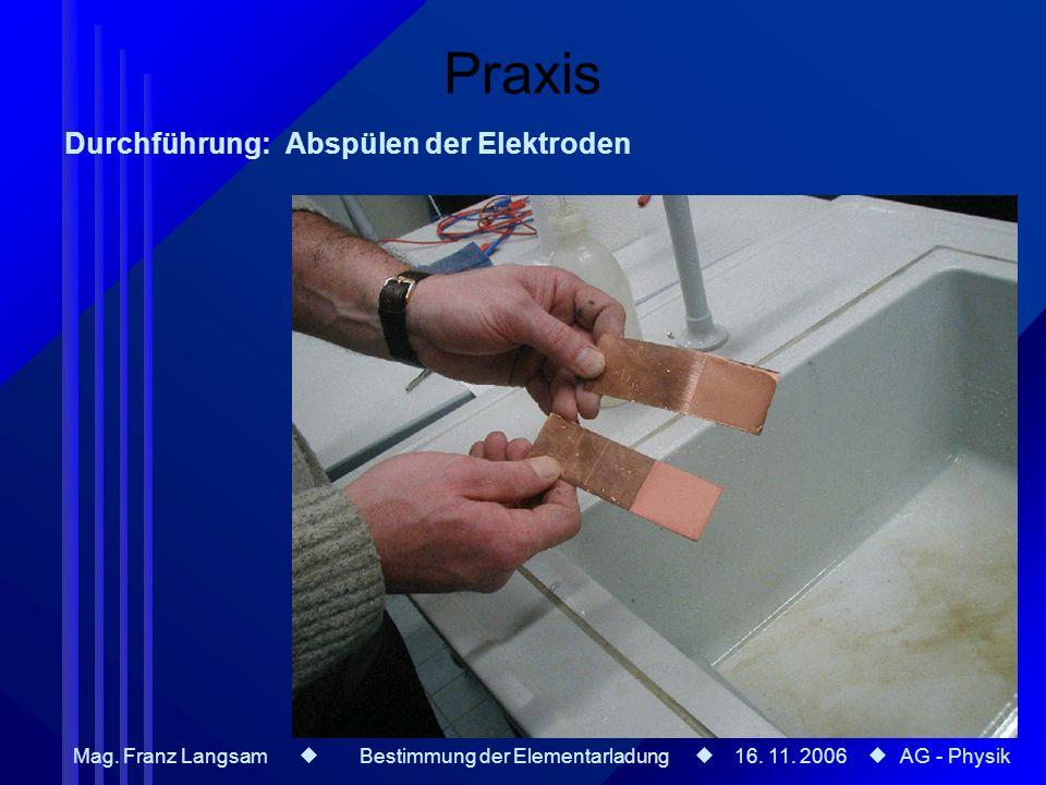 Mag. Franz Langsam Bestimmung der Elementarladung 16. 11. 2006 AG - Physik Praxis Durchführung: Abspülen der Elektroden