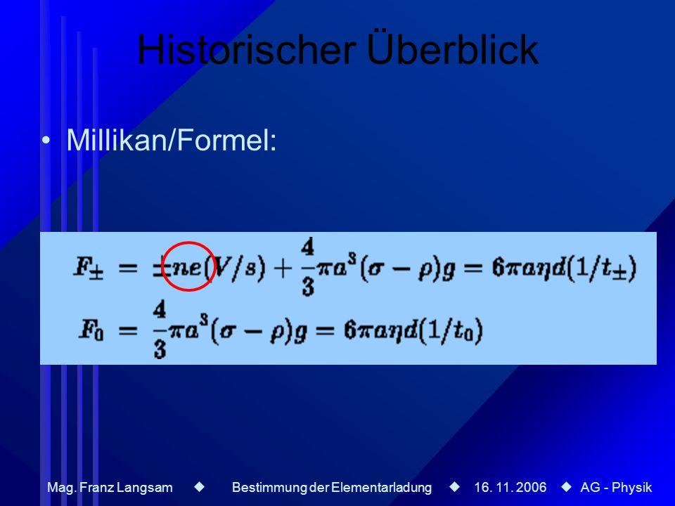 Mag. Franz Langsam Bestimmung der Elementarladung 16. 11. 2006 AG - Physik Historischer Überblick Millikan/Formel: