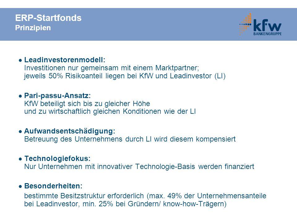 ERP-Startfonds Prinzipien Leadinvestorenmodell: Investitionen nur gemeinsam mit einem Marktpartner; jeweils 50% Risikoanteil liegen bei KfW und Leadinvestor (LI) Pari-passu-Ansatz: KfW beteiligt sich bis zu gleicher Höhe und zu wirtschaftlich gleichen Konditionen wie der LI Aufwandsentschädigung: Betreuung des Unternehmens durch LI wird diesem kompensiert Technologiefokus: Nur Unternehmen mit innovativer Technologie-Basis werden finanziert Besonderheiten: bestimmte Besitzstruktur erforderlich (max.