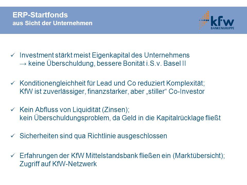 ERP-Startfonds aus Sicht der Unternehmen Investment stärkt meist Eigenkapital des Unternehmens keine Überschuldung, bessere Bonität i.S.v. Basel II Ko