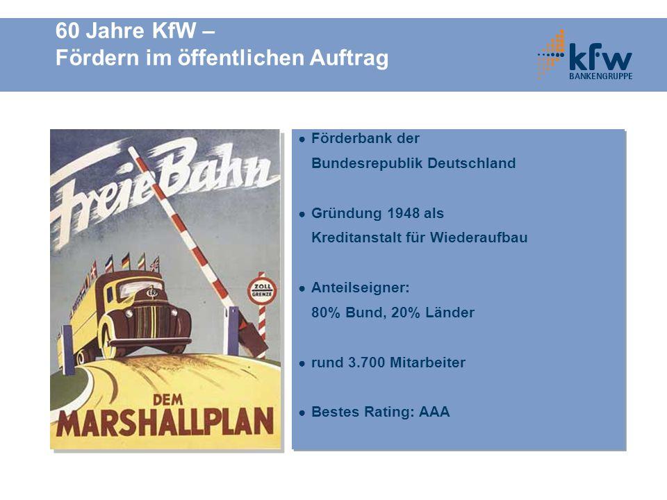 60 Jahre KfW – Fördern im öffentlichen Auftrag Förderbank der Bundesrepublik Deutschland Gründung 1948 als Kreditanstalt für Wiederaufbau Anteilseigne