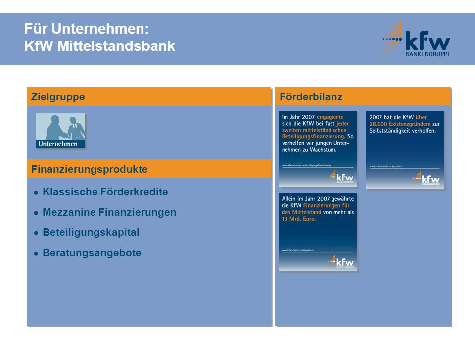 Förderbilanz Für Unternehmen: KfW Mittelstandsbank Klassische Förderkredite Mezzanine Finanzierungen Beteiligungskapital Beratungsangebote Zielgruppe Finanzierungsprodukte