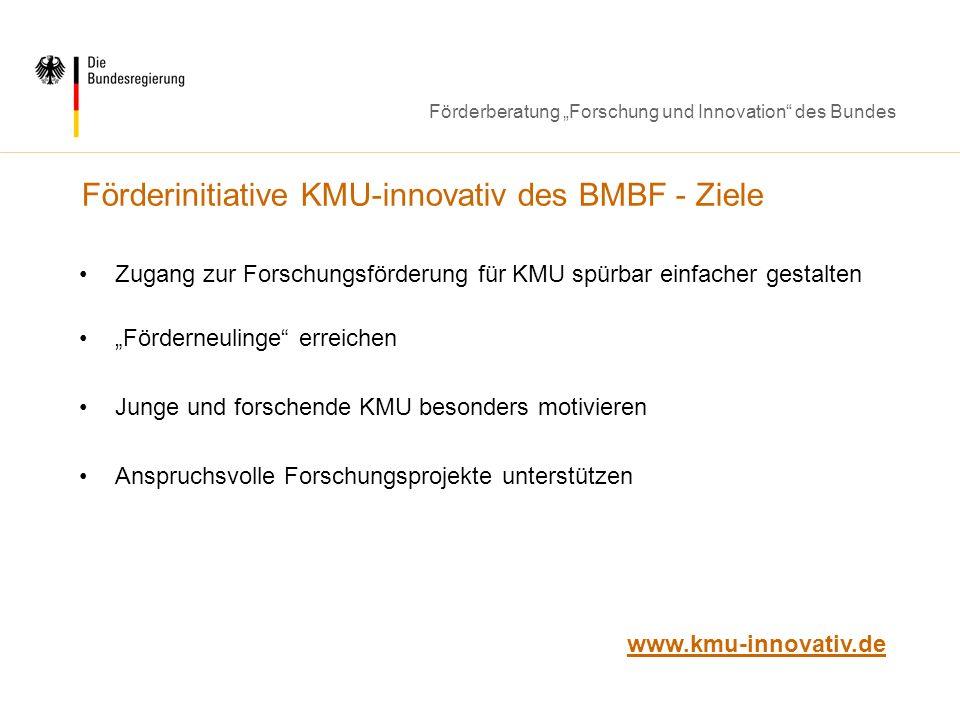 Förderberatung Forschung und Innovation des Bundes Förderinitiative KMU-innovativ des BMBF - Ziele Zugang zur Forschungsförderung für KMU spürbar einf