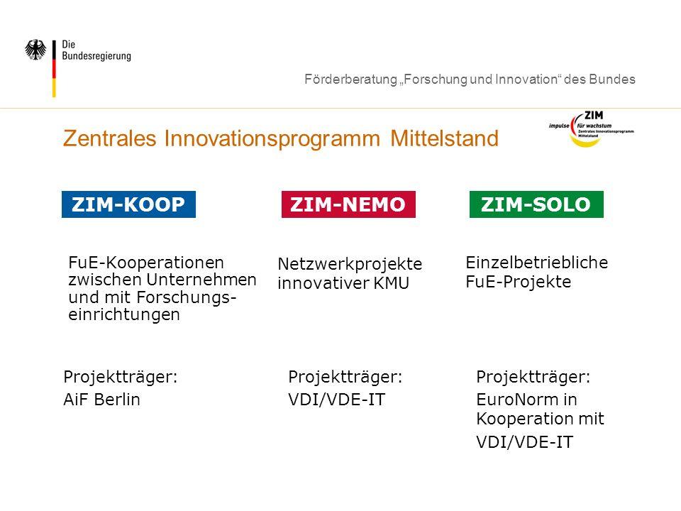Förderberatung Forschung und Innovation des Bundes Zentrales Innovationsprogramm Mittelstand FuE-Kooperationen zwischen Unternehmen und mit Forschungs
