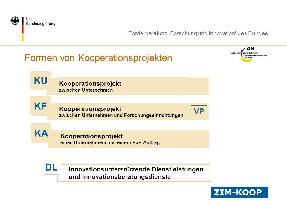 Förderberatung Forschung und Innovation des Bundes Kooperationsprojekt zwischen Unternehmen KU Kooperationsprojekt eines Unternehmens mit einem FuE-Au