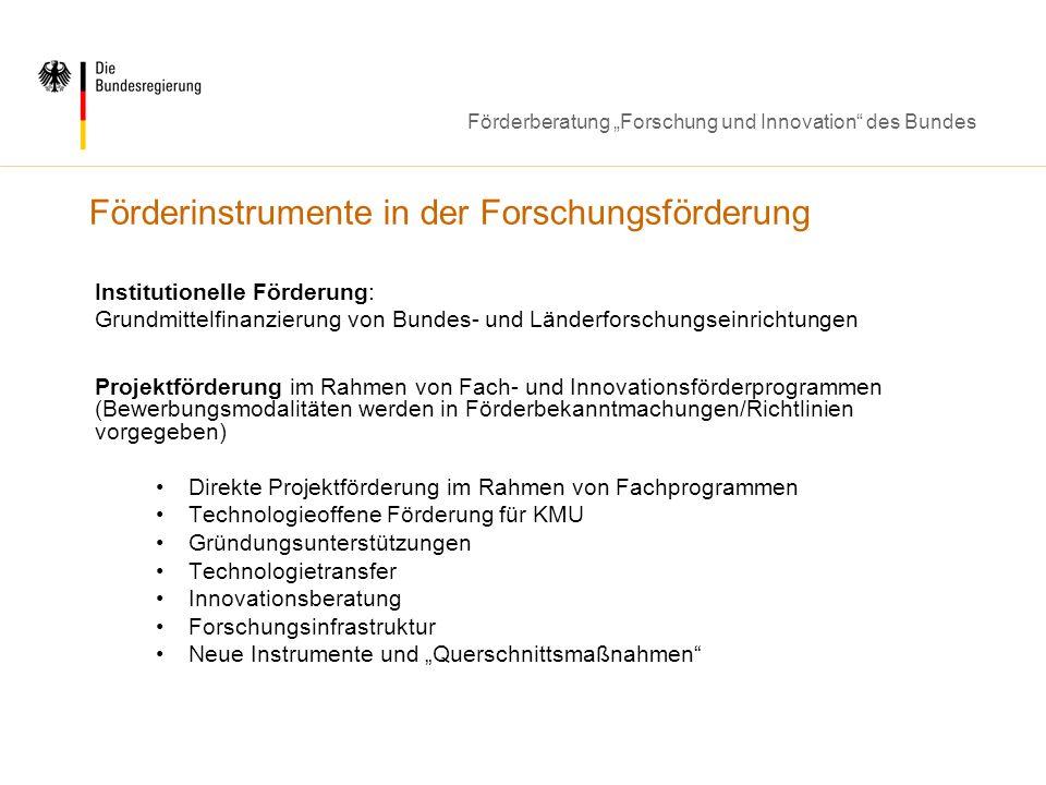 Förderberatung Forschung und Innovation des Bundes Förderinstrumente in der Forschungsförderung Institutionelle Förderung: Grundmittelfinanzierung von