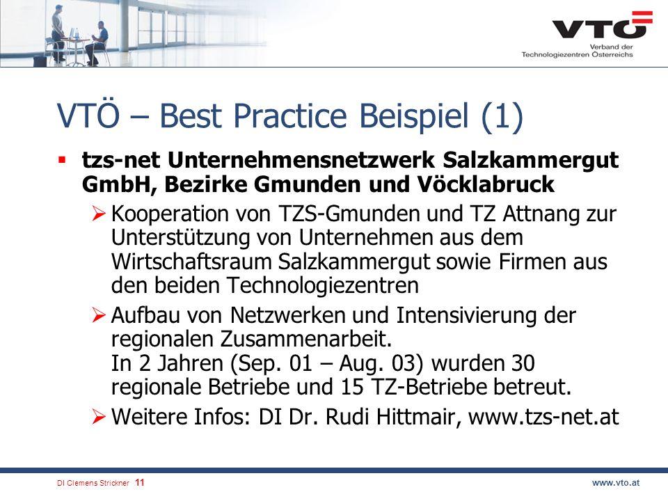 DI Clemens Strickner.11www.vto.at VTÖ – Best Practice Beispiel (1) tzs-net Unternehmensnetzwerk Salzkammergut GmbH, Bezirke Gmunden und Vöcklabruck Kooperation von TZS-Gmunden und TZ Attnang zur Unterstützung von Unternehmen aus dem Wirtschaftsraum Salzkammergut sowie Firmen aus den beiden Technologiezentren Aufbau von Netzwerken und Intensivierung der regionalen Zusammenarbeit.