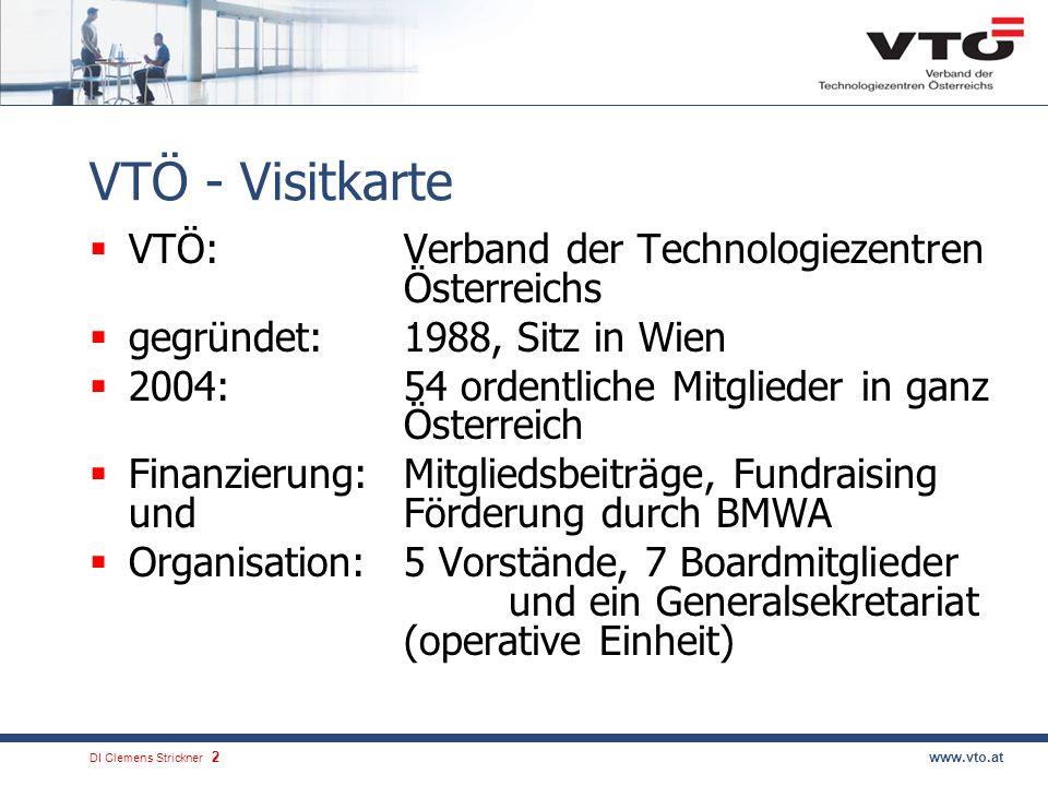 DI Clemens Strickner.2www.vto.at VTÖ - Visitkarte VTÖ:Verband der Technologiezentren Österreichs gegründet:1988, Sitz in Wien 2004: 54 ordentliche Mit