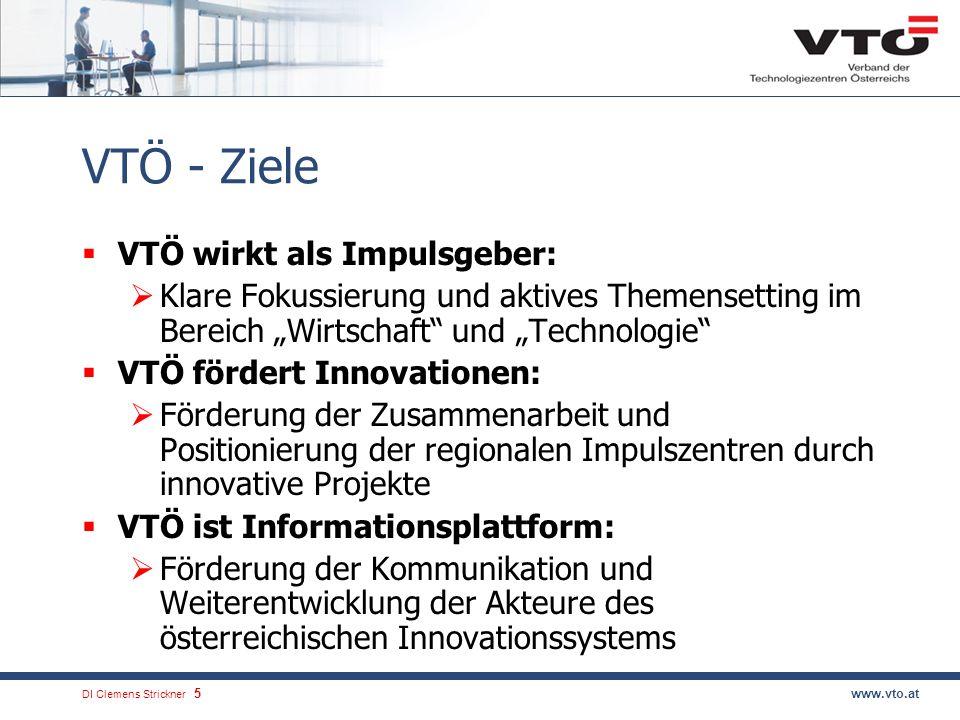 DI Clemens Strickner.5www.vto.at VTÖ - Ziele VTÖ wirkt als Impulsgeber: Klare Fokussierung und aktives Themensetting im Bereich Wirtschaft und Technologie VTÖ fördert Innovationen: Förderung der Zusammenarbeit und Positionierung der regionalen Impulszentren durch innovative Projekte VTÖ ist Informationsplattform: Förderung der Kommunikation und Weiterentwicklung der Akteure des österreichischen Innovationssystems