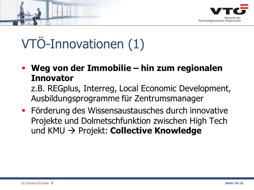 DI Clemens Strickner.9www.vto.at VTÖ-Innovationen (1) Weg von der Immobilie – hin zum regionalen Innovator z.B. REGplus, Interreg, Local Economic Deve