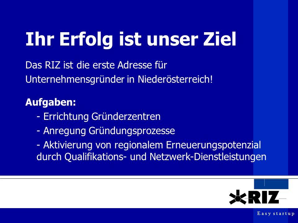 E a s y s t a r t u p Ihr Erfolg ist unser Ziel Das RIZ ist die erste Adresse für Unternehmensgründer in Niederösterreich.
