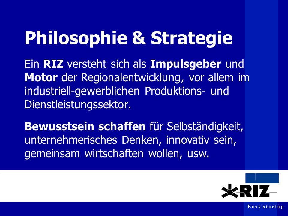 E a s y s t a r t u p Philosophie & Strategie Ein RIZ versteht sich als Impulsgeber und Motor der Regionalentwicklung, vor allem im industriell-gewerblichen Produktions- und Dienstleistungssektor.