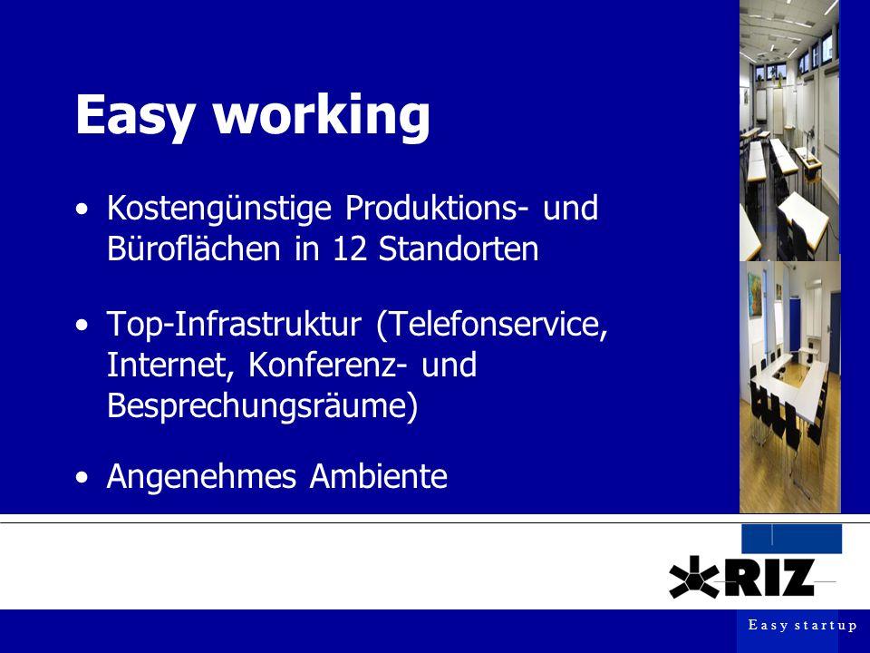 E a s y s t a r t u p Easy working Top-Infrastruktur (Telefonservice, Internet, Konferenz- und Besprechungsräume) Kostengünstige Produktions- und Büroflächen in 12 Standorten Angenehmes Ambiente