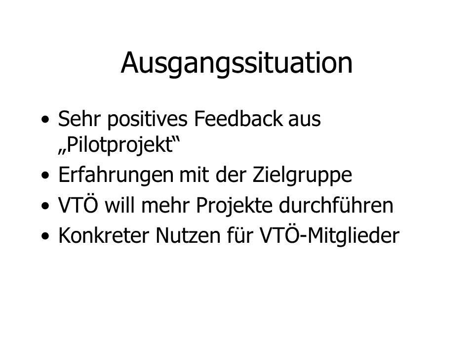 Ausgangssituation Sehr positives Feedback aus Pilotprojekt Erfahrungen mit der Zielgruppe VTÖ will mehr Projekte durchführen Konkreter Nutzen für VTÖ-
