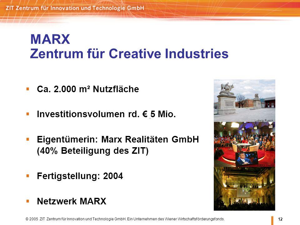 © 2005 ZIT Zentrum für Innovation und Technologie GmbH. Ein Unternehmen des Wiener Wirtschaftsförderungsfonds. 12 MARX Zentrum für Creative Industries