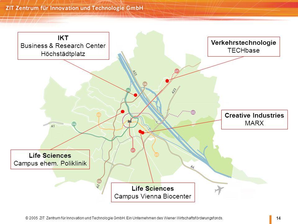 © 2005 ZIT Zentrum für Innovation und Technologie GmbH. Ein Unternehmen des Wiener Wirtschaftsförderungsfonds. 14 Life Sciences Campus Vienna Biocente