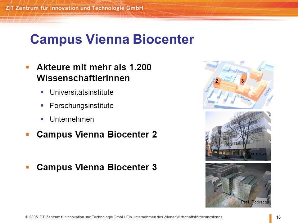 © 2005 ZIT Zentrum für Innovation und Technologie GmbH. Ein Unternehmen des Wiener Wirtschaftsförderungsfonds. 16 Campus Vienna Biocenter PRISMA AG Ak