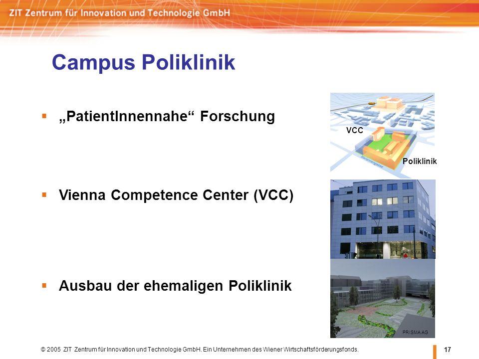 © 2005 ZIT Zentrum für Innovation und Technologie GmbH. Ein Unternehmen des Wiener Wirtschaftsförderungsfonds. 17 Campus Poliklinik PRISMA AG PatientI