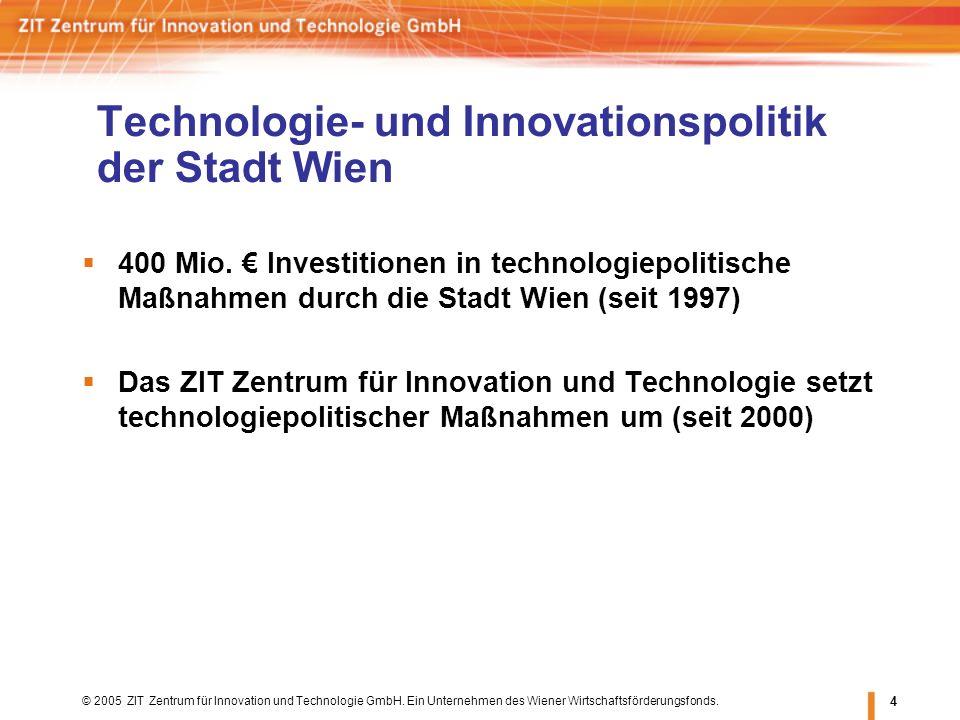 © 2005 ZIT Zentrum für Innovation und Technologie GmbH. Ein Unternehmen des Wiener Wirtschaftsförderungsfonds. 4 Technologie- und Innovationspolitik d
