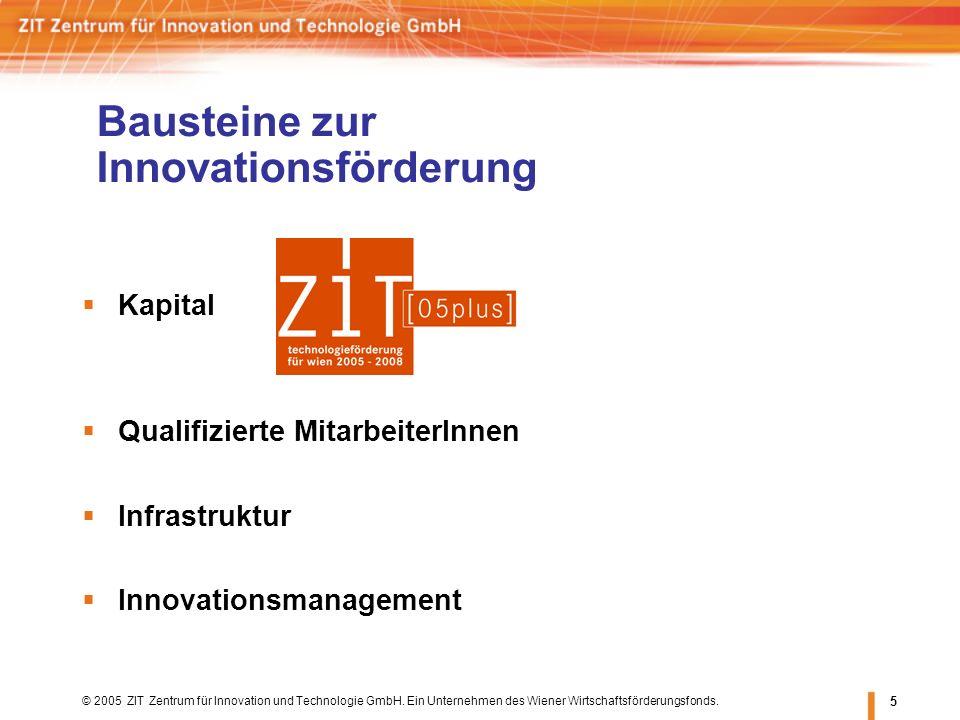 © 2005 ZIT Zentrum für Innovation und Technologie GmbH. Ein Unternehmen des Wiener Wirtschaftsförderungsfonds. 5 Bausteine zur Innovationsförderung Ka