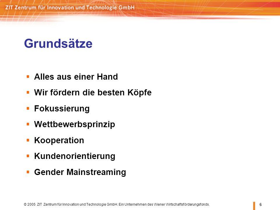 © 2005 ZIT Zentrum für Innovation und Technologie GmbH. Ein Unternehmen des Wiener Wirtschaftsförderungsfonds. 6 Alles aus einer Hand Wir fördern die