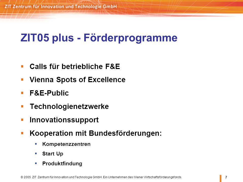 © 2005 ZIT Zentrum für Innovation und Technologie GmbH. Ein Unternehmen des Wiener Wirtschaftsförderungsfonds. 7 Calls für betriebliche F&E Vienna Spo