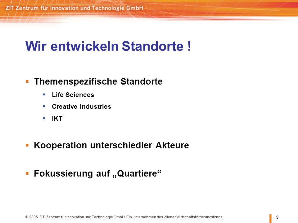 © 2005 ZIT Zentrum für Innovation und Technologie GmbH. Ein Unternehmen des Wiener Wirtschaftsförderungsfonds. 9 Themenspezifische Standorte Life Scie