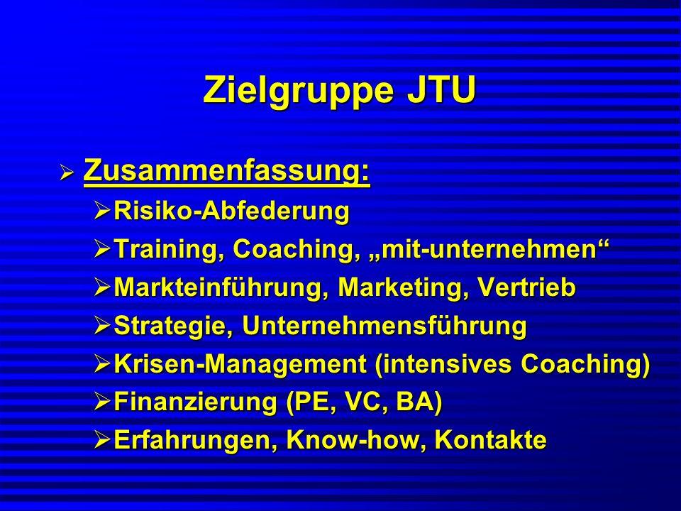 Zielgruppe JTU Zusammenfassung: Zusammenfassung: Risiko-Abfederung Risiko-Abfederung Training, Coaching, mit-unternehmen Training, Coaching, mit-unter