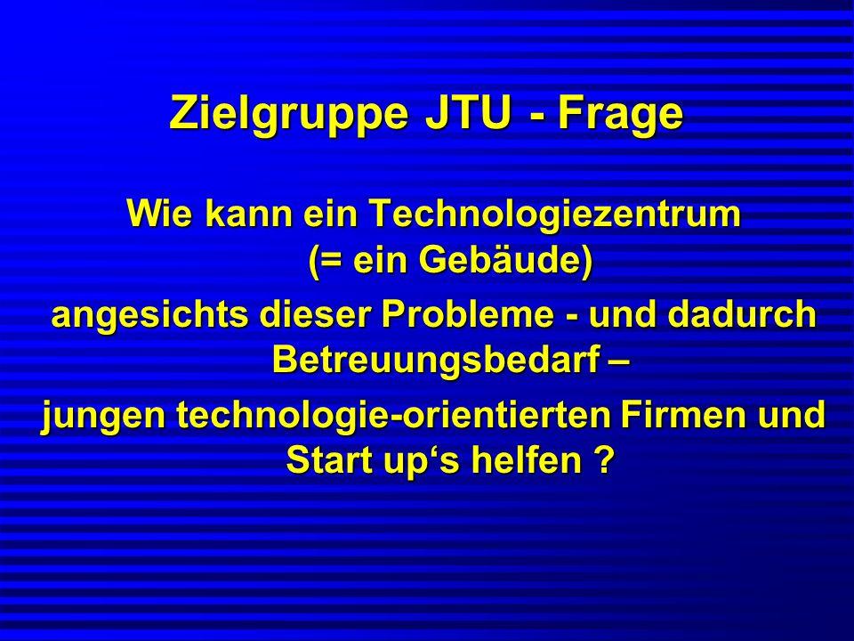 Zielgruppe JTU - Frage Wie kann ein Technologiezentrum (= ein Gebäude) angesichts dieser Probleme - und dadurch Betreuungsbedarf – jungen technologie-