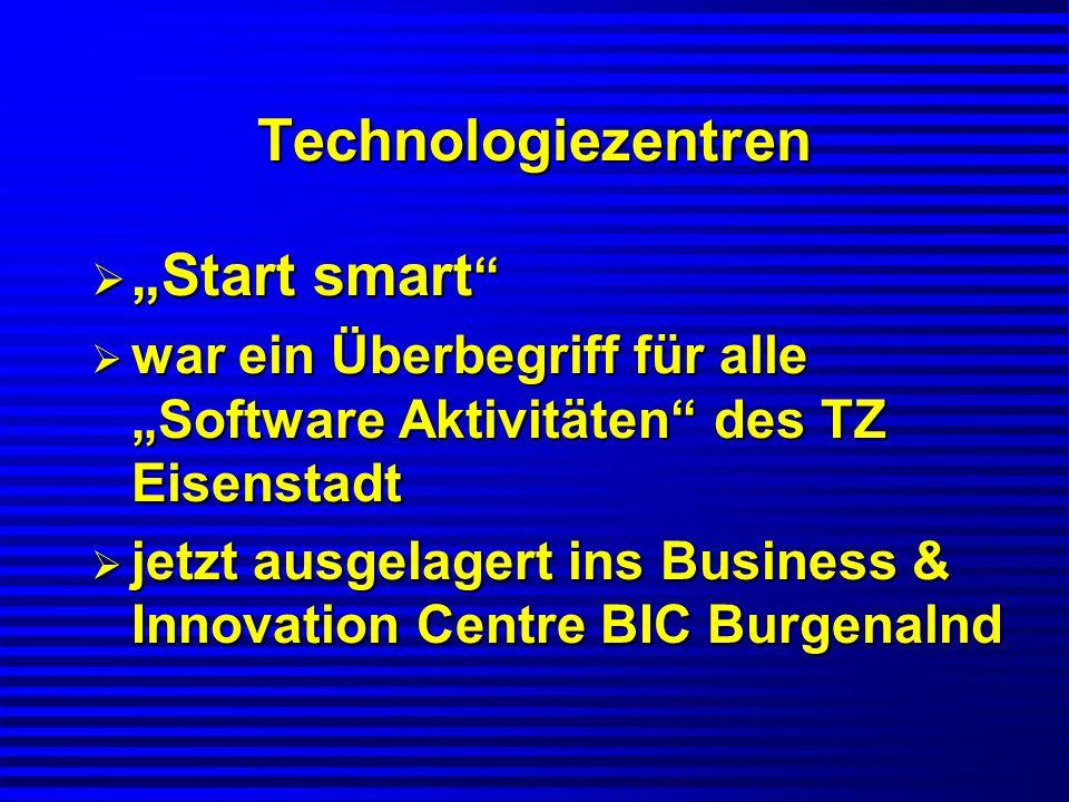 Technologiezentren Start smart Start smart war ein Überbegriff für alle Software Aktivitäten des TZ Eisenstadt war ein Überbegriff für alle Software A