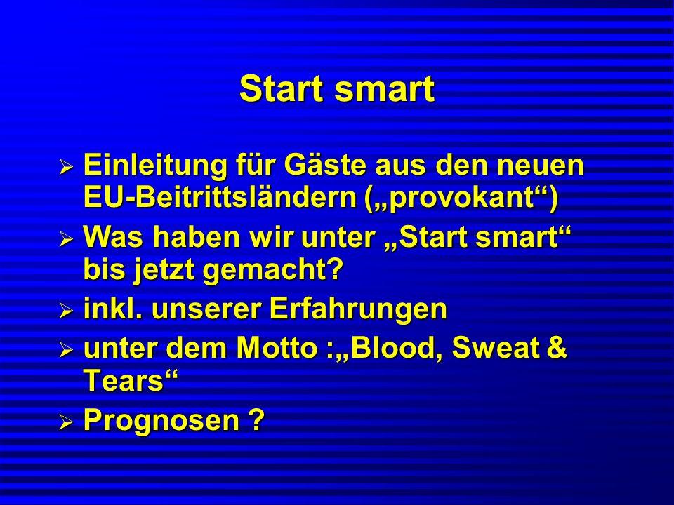 Start smart Einleitung für Gäste aus den neuen EU-Beitrittsländern (provokant) Einleitung für Gäste aus den neuen EU-Beitrittsländern (provokant) Was