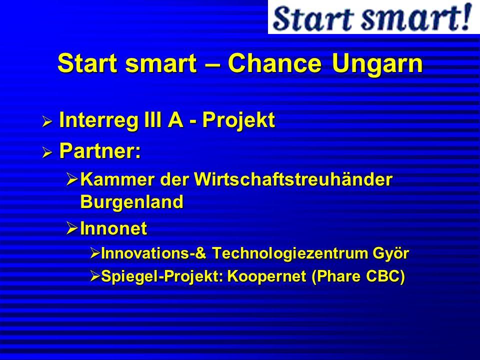 Start smart – Chance Ungarn Interreg III A - Projekt Interreg III A - Projekt Partner: Partner: Kammer der Wirtschaftstreuhänder Burgenland Kammer der