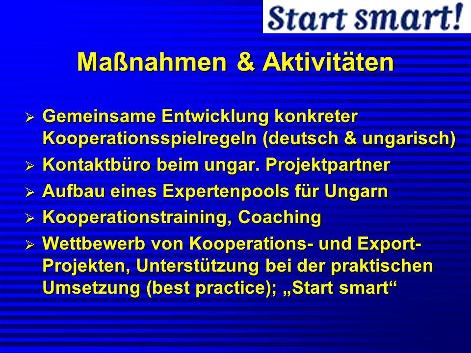 Maßnahmen & Aktivitäten Gemeinsame Entwicklung konkreter Kooperationsspielregeln (deutsch & ungarisch) Gemeinsame Entwicklung konkreter Kooperationssp