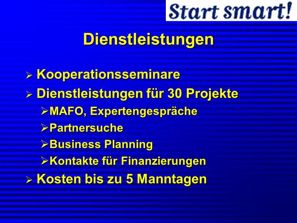 Dienstleistungen Kooperationsseminare Kooperationsseminare Dienstleistungen für 30 Projekte Dienstleistungen für 30 Projekte MAFO, Expertengespräche M