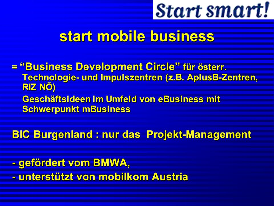 start mobile business = Business Development Circle für österr.