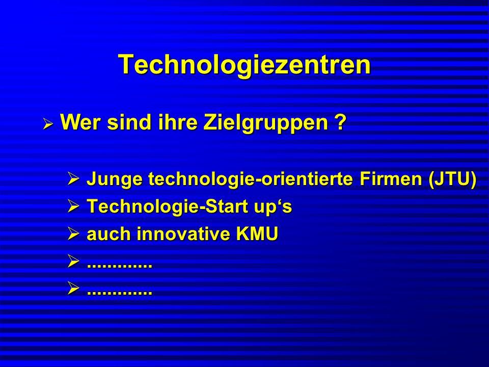 Technologiezentren Wer sind ihre Zielgruppen ? Wer sind ihre Zielgruppen ? Junge technologie-orientierte Firmen (JTU) Junge technologie-orientierte Fi