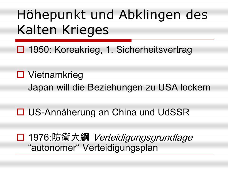 Höhepunkt und Abklingen des Kalten Krieges 1950: Koreakrieg, 1. Sicherheitsvertrag Vietnamkrieg Japan will die Beziehungen zu USA lockern US-Annäherun