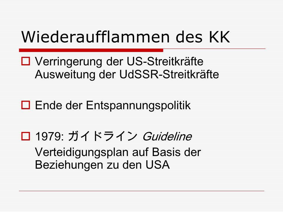 Wiederaufflammen des KK Verringerung der US-Streitkräfte Ausweitung der UdSSR-Streitkräfte Ende der Entspannungspolitik 1979: Guideline Verteidigungsplan auf Basis der Beziehungen zu den USA