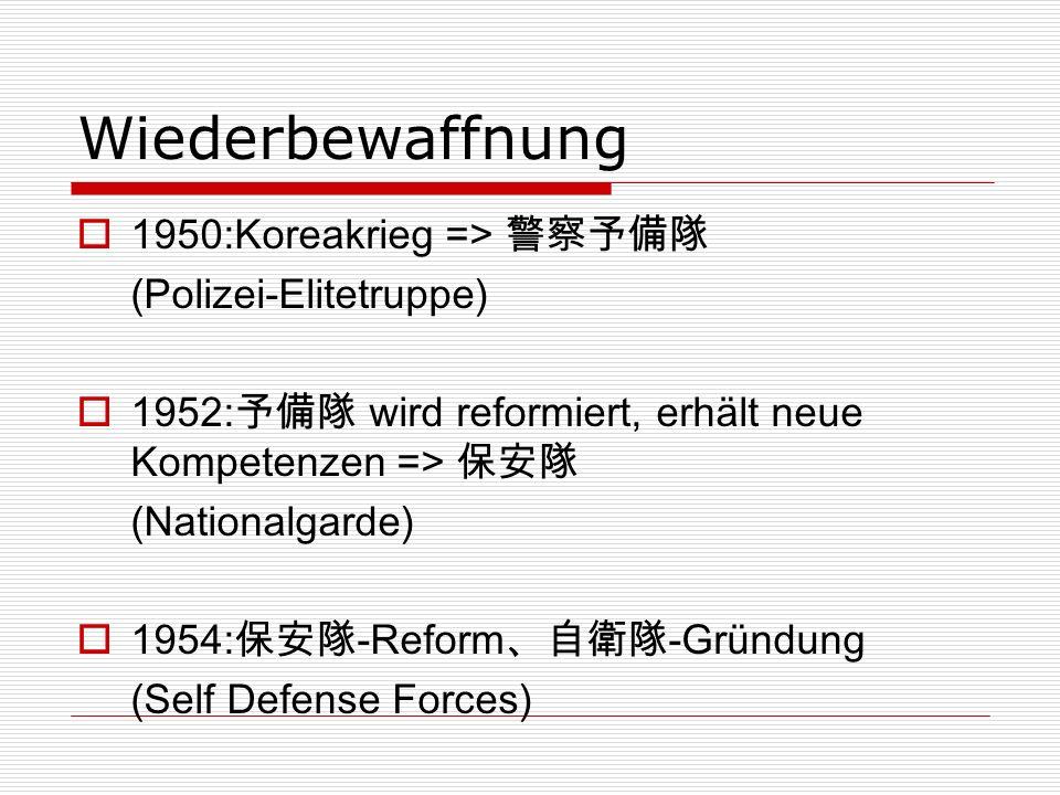 Wiederbewaffnung 1950:Koreakrieg => (Polizei-Elitetruppe) 1952: wird reformiert, erhält neue Kompetenzen => (Nationalgarde) 1954:-Reform-Gründung (Self Defense Forces)