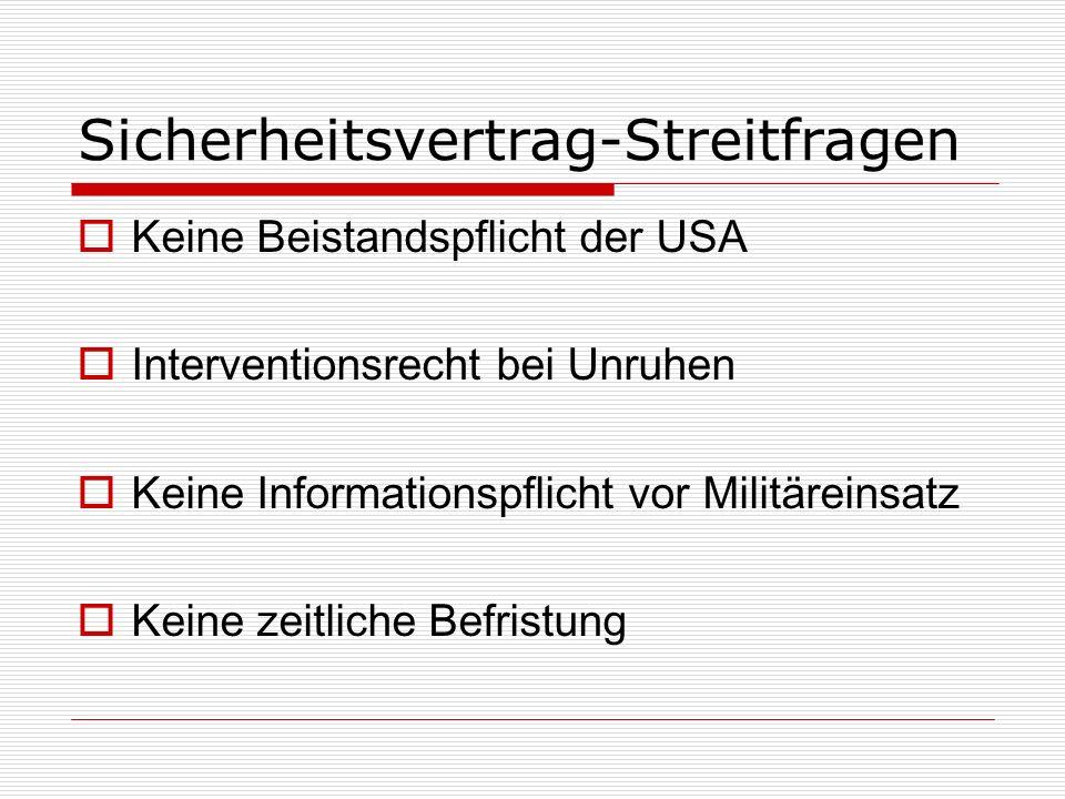 Sicherheitsvertrag-Streitfragen Keine Beistandspflicht der USA Interventionsrecht bei Unruhen Keine Informationspflicht vor Militäreinsatz Keine zeitliche Befristung