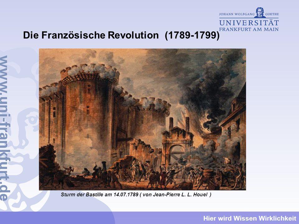 Hier wird Wissen Wirklichkeit Die Französische Revolution (1789-1799) Sturm der Bastille am 14.07.1789 ( von Jean-Pierre L. L. Houel )