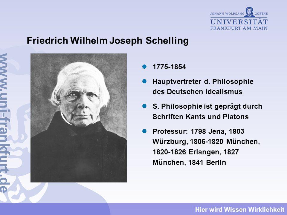 Hier wird Wissen Wirklichkeit Friedrich Wilhelm Joseph Schelling 1775-1854 Hauptvertreter d. Philosophie des Deutschen Idealismus S. Philosophie ist g