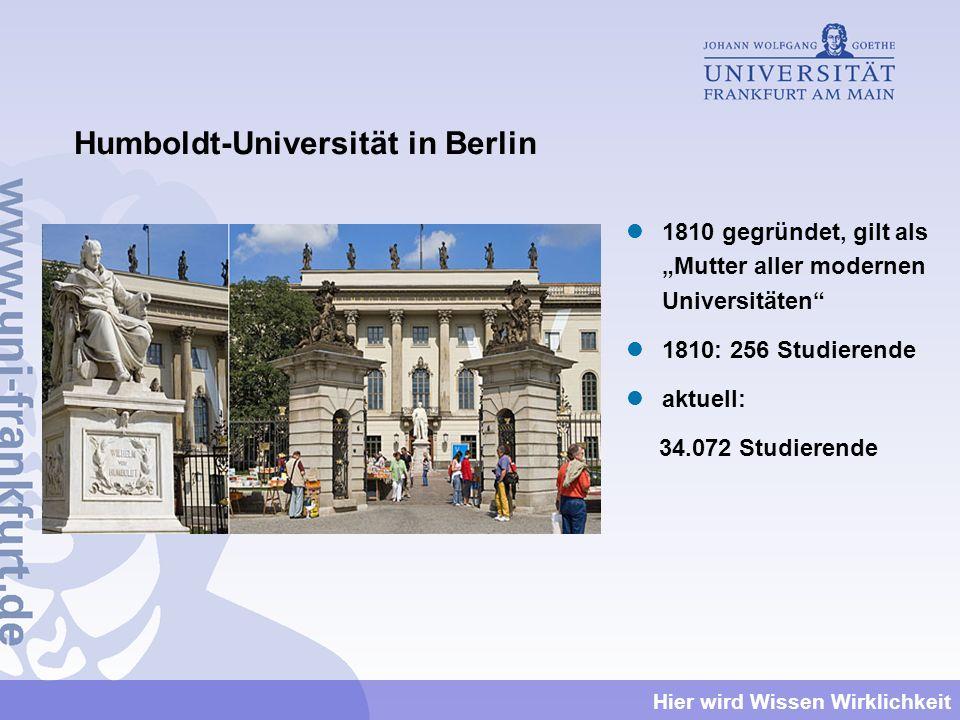 Hier wird Wissen Wirklichkeit Humboldt-Universität in Berlin 1810 gegründet, gilt als Mutter aller modernen Universitäten 1810: 256 Studierende aktuel
