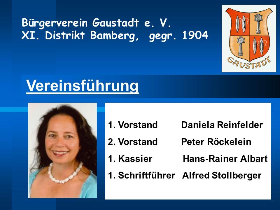 Bürgerverein Gaustadt e. V. XI. Distrikt Bamberg, gegr. 1904 Vereinsführung 1. Vorstand Daniela Reinfelder 2. Vorstand Peter Röckelein 1. Kassier Hans