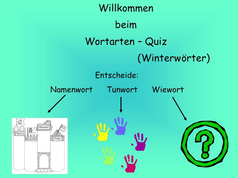 Willkommen beim Wortarten – Quiz (Winterwörter) Entscheide: Namenwort Tunwort Wiewort