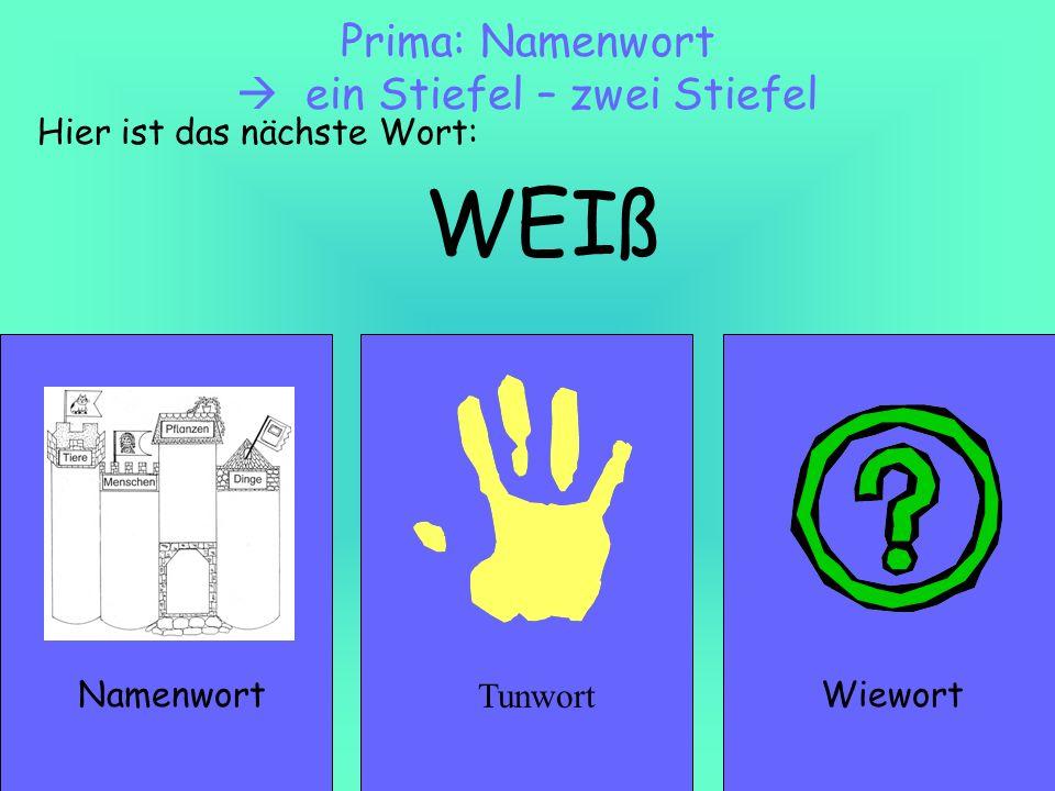 WEIß NamenwortWiewort Prima: Namenwort ein Stiefel – zwei Stiefel Hier ist das nächste Wort: Tunwort