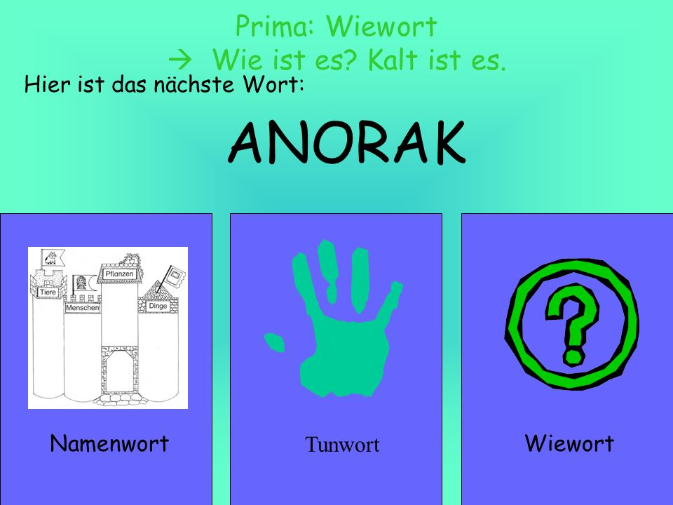 HANDSCHUHE NamenwortWiewort Prima: Namenwort ein Anorak – zwei Anoraks Hier ist das nächste Wort: Tunwort