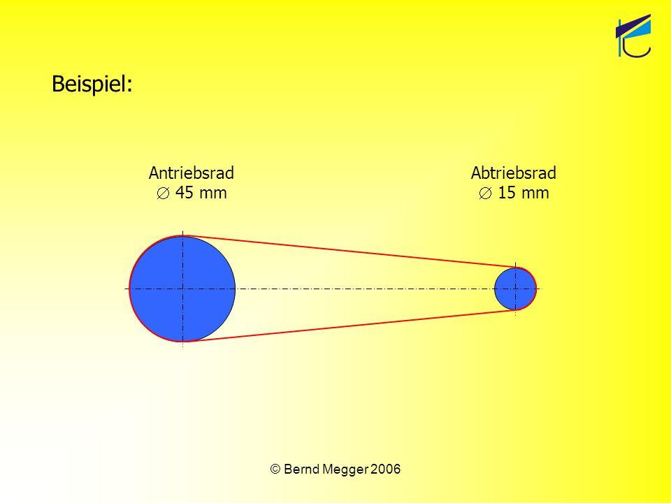 © Bernd Megger 2006 Auswertung des Ergebnisses: Dreht sich das Antriebsrad ein Mal, dreht sich das Abtriebsrad drei Mal.