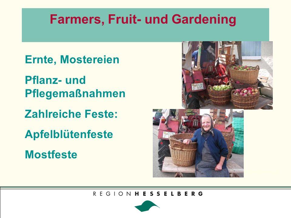Regionalmesse Farmers, Fruit- und Gardening Ernte, Mostereien Pflanz- und Pflegemaßnahmen Zahlreiche Feste: Apfelblütenfeste Mostfeste
